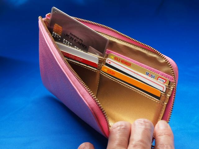 ピンクのレジさっと カードいれその1